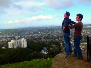 These two goobers playing Titanic with Auckland in the background